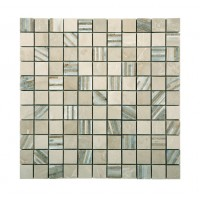 Marble Mosaic Multi Brown Bamboo 25x25