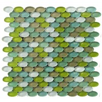 Green Mixed Oval 33x18 Glossy  (M03)