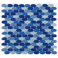 Blue Mixed Oval 33x18 Glossy  (M05)