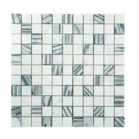 Marble Mosaic Carrara Multi Grey Bamboo 25x25