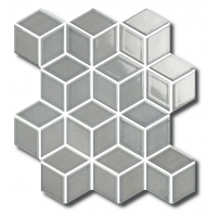 Porcelain Mosaic Diamond Cube Grey Glossy