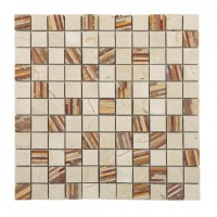 Marble Mosaic Multi Travertine Bamboo 25x25