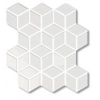 Porcelain Mosaic Diamond Cube White Glossy