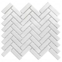 Porcelain Mosaic Herring Bone 25x75 White Glossy